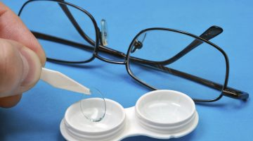 The procedure for changing eyeglasses on the contact lens